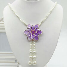 Women Jewelry Flower Pendant Faux Pearl Tassels Necklace Sweater Chain Perfect