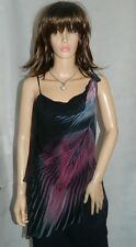 Karen Millen Beaded Diamante Black Pink Silk Evening Top size 8 NEW RRP £105
