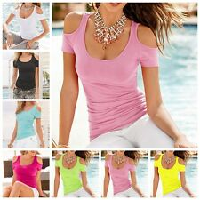 Sexy New Women's Short Sleeve Blouse Casual T-Shirt Tops Cotton Blend Multicolor