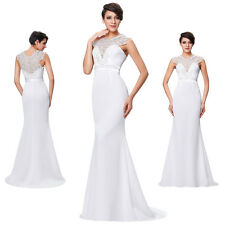 Sexy Beading Floor-Length Sleeveless Evening Prom Party Bridesmaid Dress White