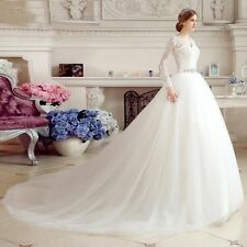New-White / ivory-Wedding-dress-A-Line Long Sleeve Lace Bridal Gown