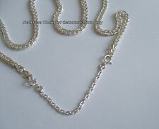 Heavy Sterling Silver necklace extender safety chain two Quality Bolt Rings 3-8""