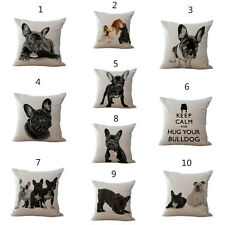 Black And White Dog Cushion Covers Lovely Bulldog Cotton Linen Throw Pillow Case