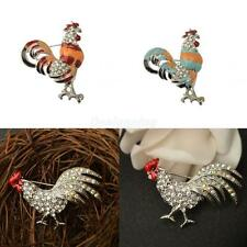 Vintage Women Crystal Rhinestone Cock Rooster Animal Brooch Pins Jewerly Gift