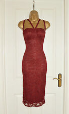 ~VICTORIA~ Red Wine Floral Lace Illusion Bodycon Evening Party Dress 8 10 12 14