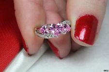 Sterling Silver 925 Three Stone Heart Shaped Baby Pink Sapphire Engagement Ring