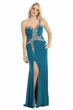 Long Formal Dresses Mermaid Fit One Shoulder Hand Beaded Plus Size Evening Gown