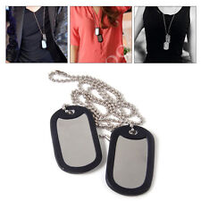 2x Silver Matte Military Army Blank Pendant Dog Tag + Stainless Steel Chains