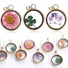 New Natural Wishing Glass Locket Pendant Real Dried Pressed Flower Long Necklace