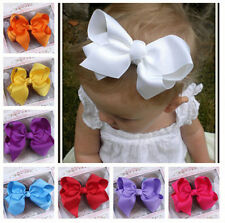 Nice 1PC Girl Baby Big Hair Bows Boutique Toddler Clip Grosgrain Ribbon Headwear