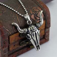 Vintage Gothic Punk Mens Skull Necklace Totem Death Ox Pendant Stainless Steel