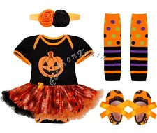 4Pcs Halloween Infant Baby Kids Romper Dress Outfit Tutu Skirt Clothes 0-12M