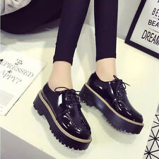 Flat Heel Platform Women's Round Toe Lace Up Punk Retro Brogue Shoes Creeper