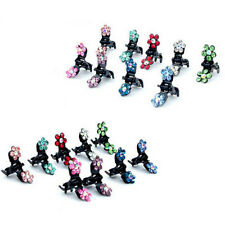12 Pcs Crystal Flower Mini Hair Claw Clamp Hair Clip Hair Pins Hair Accessory