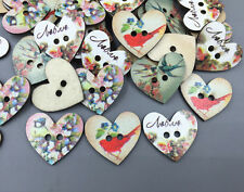 Mixed Wooden sewing Heart-shaped buttons Magpie flower pattern Scrapbook 27mm