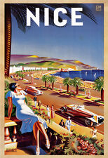 Vintage ART DECO NICE TRAVEL POSTER  Print on Paper or Canvas Giclee