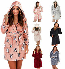 Luxury Super Soft Short Hooded Fleece Bath Robe Dressing Gown Girls Ladies