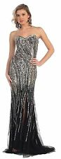 Long Prom Dresses Strapless Sweetheart Sequins Formal High Slit Evening Gown