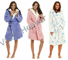 Ladies Waffle Fleece Hooded Short Length Dressing Gown Robe Pink Blue Quilted