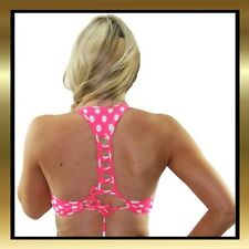 Pink & White Polka Dot Spandex Dance Sports Top with Criss Cross Back