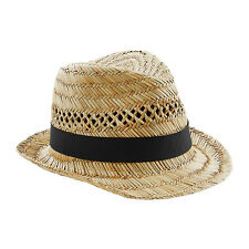 Beechfield Straw Summer Holiday Hand Made Straw Trilby Hat Classic Hat Cap BC730