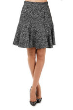 DOLCE & GABBANA New woman Black White Wool Blend Flared Skirt Made in Italy