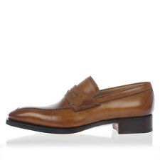 ANDREA SANTONI New Men Brown Leather Slip On Loafer Shoes Made in Italy NWT