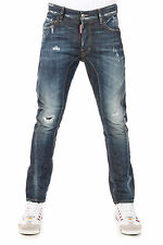 DSQUARED2 Dsquared² New Men Blue Stretch Denim Pants Jeans TIDY BIKER Made Italy