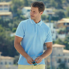 Fruit of the Loom SS250 Mens Tipped Polo Tshirt Top Collar Short Sleeves T-shirt