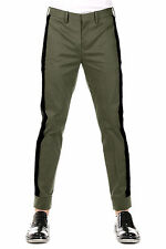 NEIL BARRETT New Men military Green Stretch Cotton Pants Trouser Made italy NWT