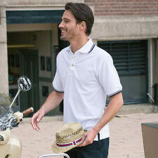 Henbury HB150 Tipped Stand Up Collar And Cuff Polo T-Shirt Casual Wear Tshirts