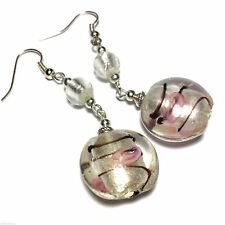 Long Pink Vintage Style Glass Bead Earrings, Hooks, Clip-On or Studs, Silver