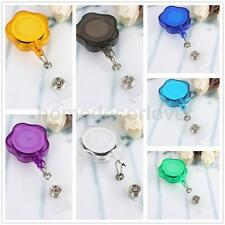 Flower Reel Recoil ID Badge Lanyard Retractable Tag Key Card Holder Belt Clip