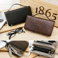 Mens Genuine cow leather snake pattern clutch long wallet organizer with strap
