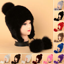 Women Real Knitted Farms Mink Fur Hat Winter Fur Cap Perfect Coming Hat Headgear