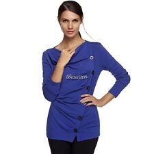 Women Casual Long Sleeve Draped Neck Cotton Blend Blouse Pullover Jumper T BF9