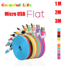 1/2/3M Flat Noodles Micro USB Data & Sync Charger Cable Cord For Android Samsung
