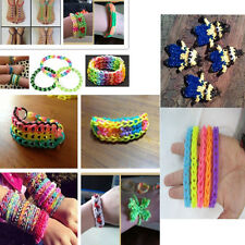Tie Dye Rainbow Rubber Bands Loom Refill S Button DIY Bracelet Anklet Set 0YT