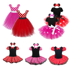 Kids Girls Baby Toddler Minnie Mouse Outfits Party Fancy Costume Tutu Dress +Ear