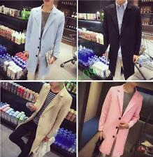 Korea Mens Autumn Lapel Slim Fit Long Trench Jackets Casual Winbreaker Overcoats