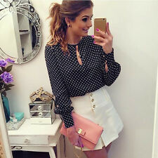 New Fashion Womens Chiffon Polka Dot Long Sleeve Loose Tops Blouse Casual Shirts