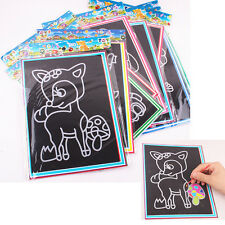1/6/10X Colorful Scratch Art Paper Magic Painting Paper with Drawing Stick Kids