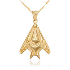 14k Yellow Gold Military Aircraft Nighthawk Stealth Bomber Pendant Necklace