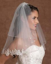 2t White/Ivory short veils 65cm Bead &lace Edge Wedding veil  Bridal Vail&Comb
