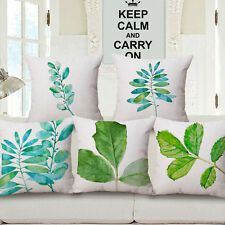 Flowers and Leaves Square 18'' Cotton Cushion Cover Home Decor Waist Pillow Case