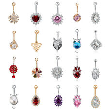 Rhinestone Navel Rings Belly Button Bar Ring Sexy Dangle Body Piercing Jewelry F