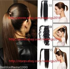 "16""18""20"" 100g Clip in 100% Virgin Human Hair Extension Wrap Around Ponytail"