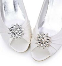 Silver/Gold Flower Rhinestone Crystal Wedding Bridal Shoe Clips Pair