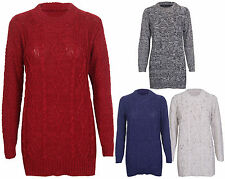 Womens New Long Sleeves Chunky Cable Knitted Jumper Stretch Ladies Sweater Top