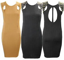 G58 NEW WOMENS LADIES CUTOUT STUDDED BODYCON TUNIC SHIFT DRESS IN SIZE 08-14